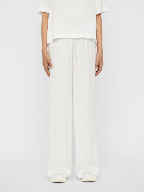 Womens Mila Liquid Satin Pants White