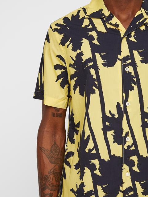 Mens David Resort Print Shirt Butter Yellow