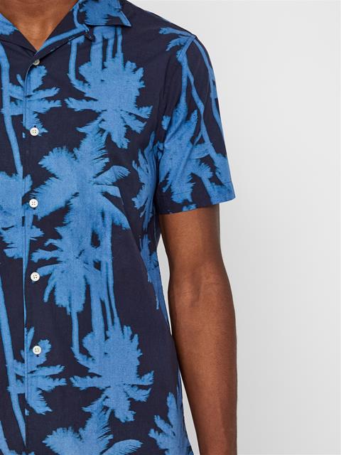 Mens David Resort Print Shirt JL Navy