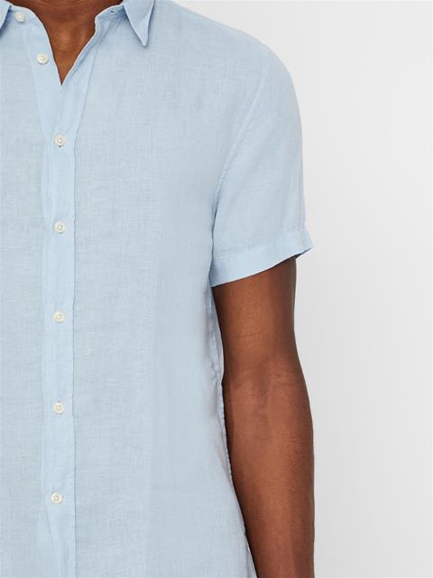 Mens Daniel Short Sleeve Linen Shirt Ice Flow