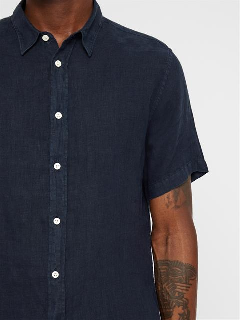 Mens Daniel Short Sleeve Linen Shirt JL Navy