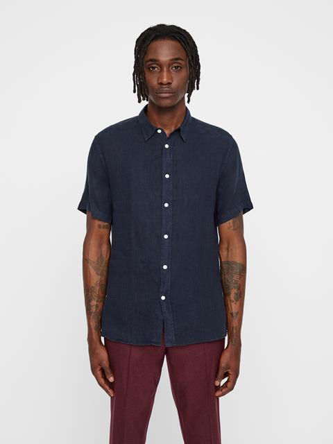 Mens Daniel Short Sleeve Linen Shirt JL Navy