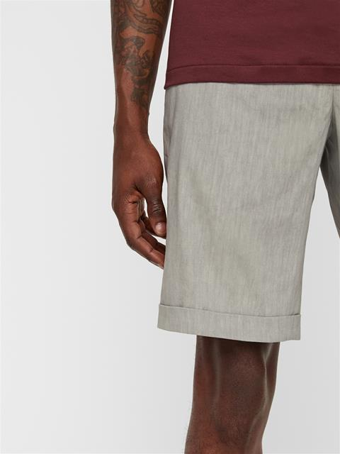 Mens Nathan Stretch Linen Shorts Soft Ash