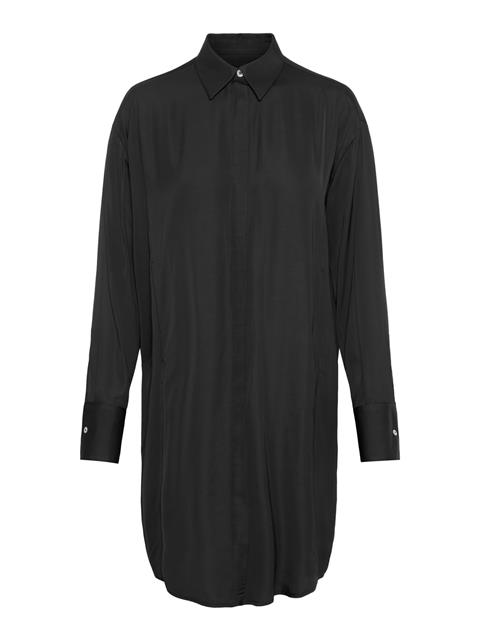 Womens Nicoletta Satin Shirt Dress Black
