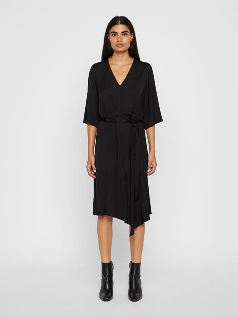 Womens Maia Satin Dress Black
