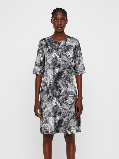 Womens Adele Printed Silk Dress GLACIER GREY