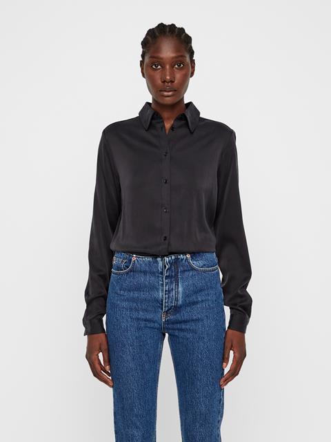 Womens Mallory Silk Shirt Black