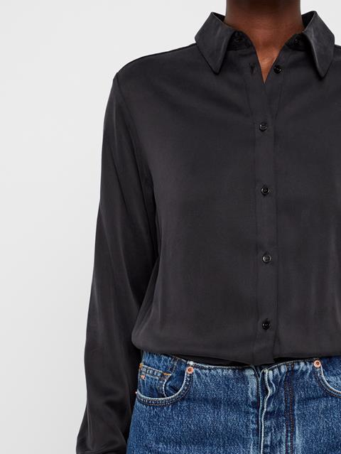 Womens Mallory Silk Shirt Black