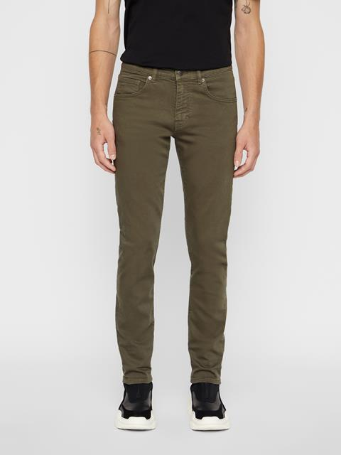 Mens Jay Solid Stretch Jeans Forest Green