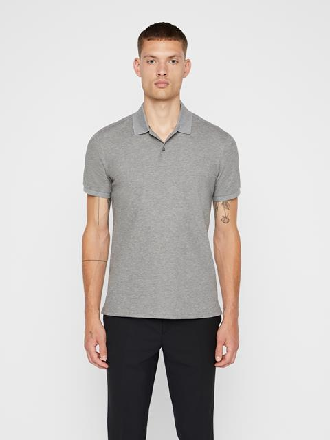 Mens Troy Pique Polo Grey Melange