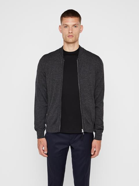 Mens Lyam Sweater Bomber Black Melange