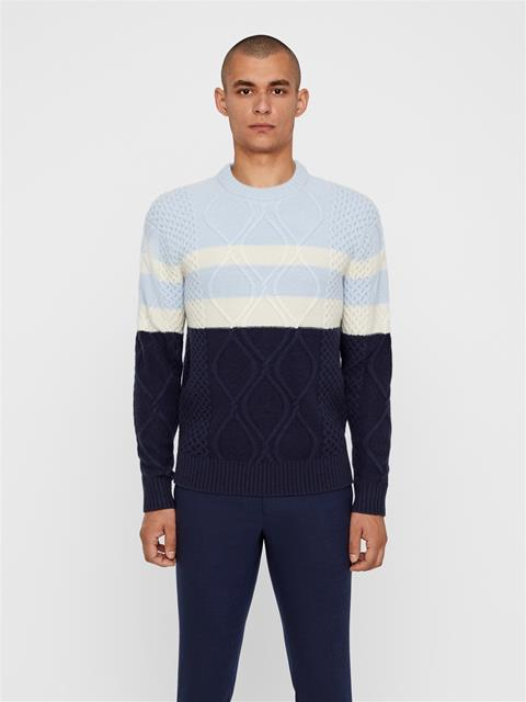 Mens Reeve Cable-knit Sweater JL Navy