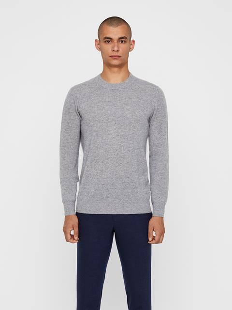 Mens Light Cashmere Sweater Light Grey Melange