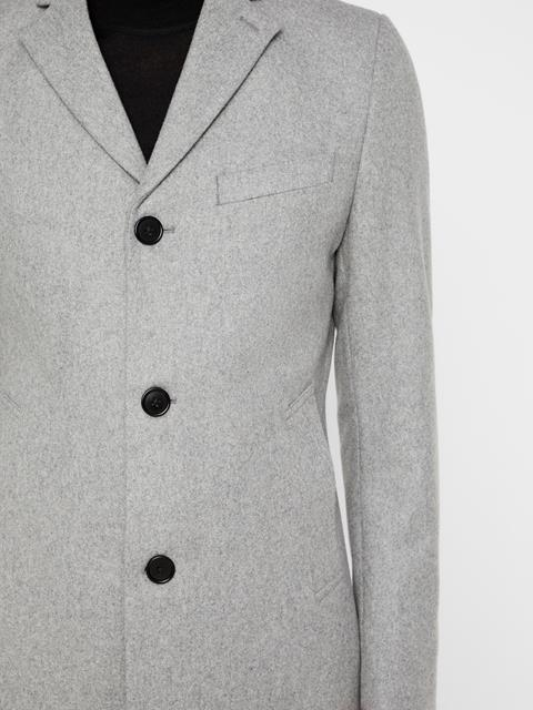 Mens Wolger Compact Melton Coat Light Grey Melange
