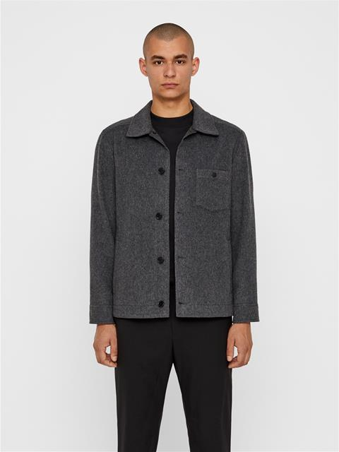 Mens Dolph Wool Overshirt Dark Grey Melange