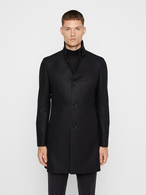 Mens Holger Compact Melton Coat Black