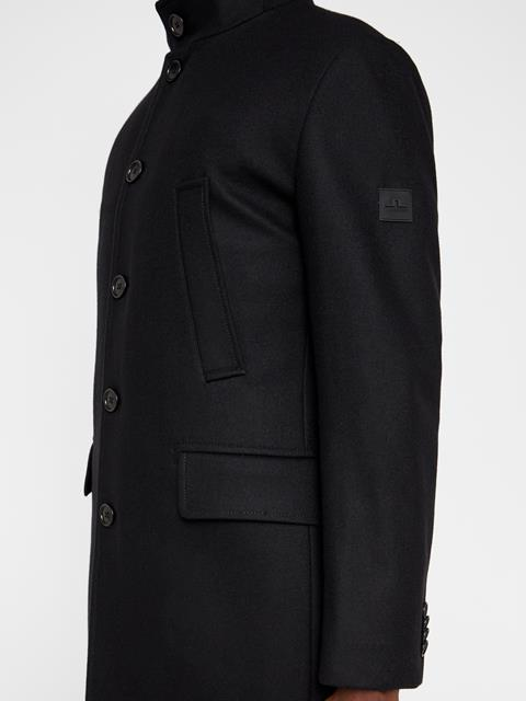 Mens Kali Compact Melton Coat Black