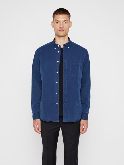 Mens David Indigo Gabardine Shirt Mid Blue