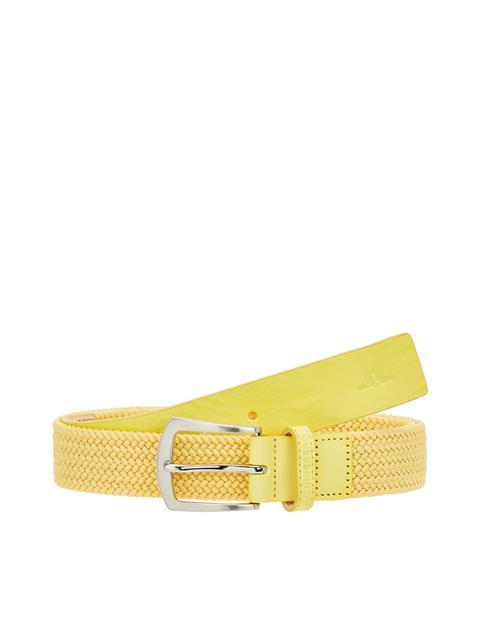 Mens Caspian Braided Elastic Belt Banging Yellow