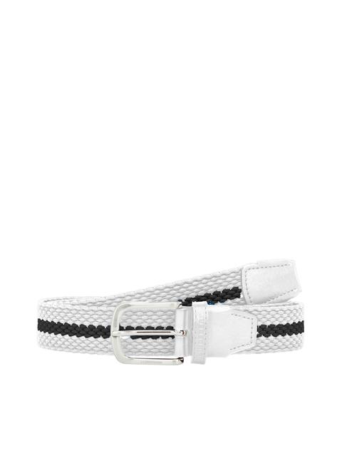 Mens Hades Striped Elastic Belt White