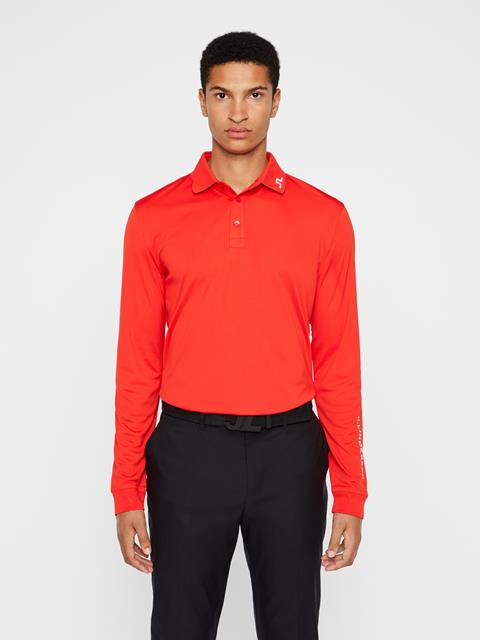 Mens Tour Tech Long Sleeve Polo Racing Red