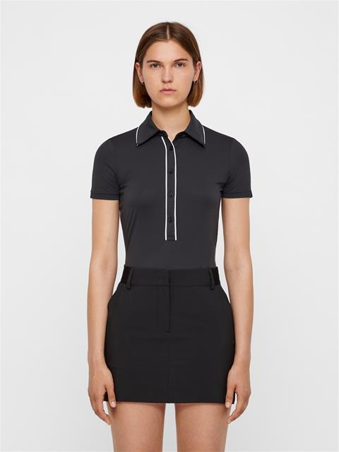 Womens Flor Ultra Light Jersey Polo Black