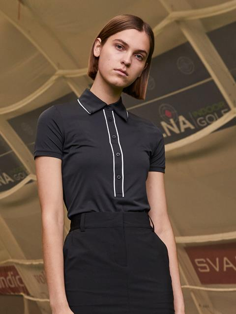 Womens Flor Ultra Light Jersey Polo Black