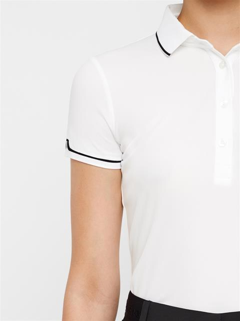 Womens Leana Lux Pique Polo White