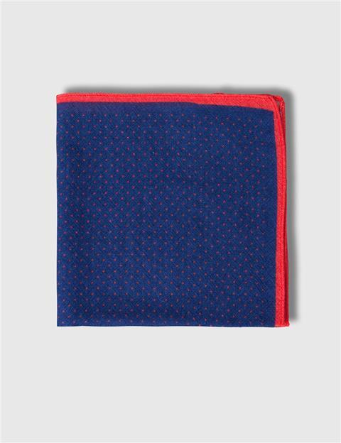 Mens Framed Dot Wool Pocket Square  Blue/Purple