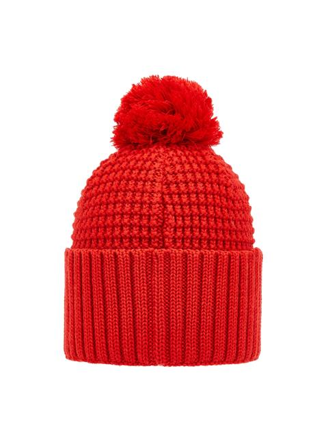 Mens Ball Wool Hat Racing Red