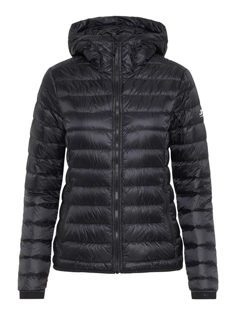 Womens Light Down Hooded Jacket Black