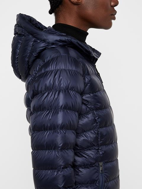 Womens Light Down Hooded Jacket JL Navy