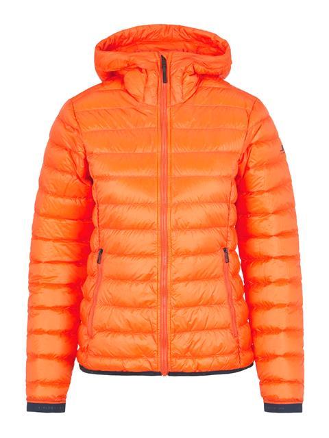 Womens Light Down Hooded Jacket Juicy Orange