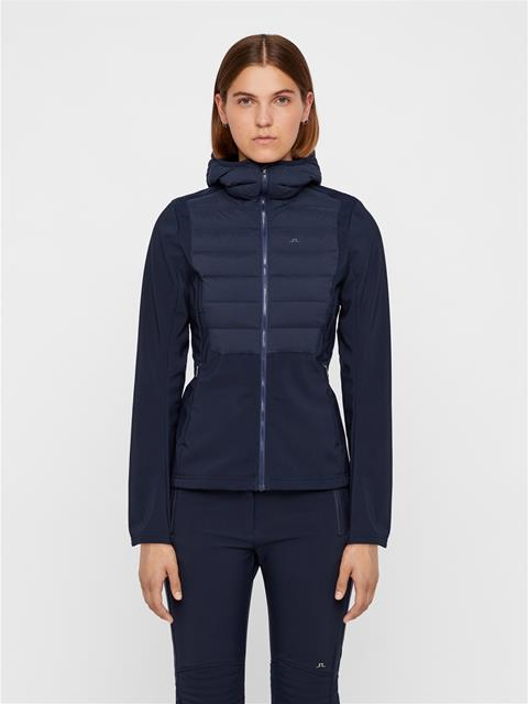 Womens Vertex Hybrid Down Hooded Jacket JL Navy
