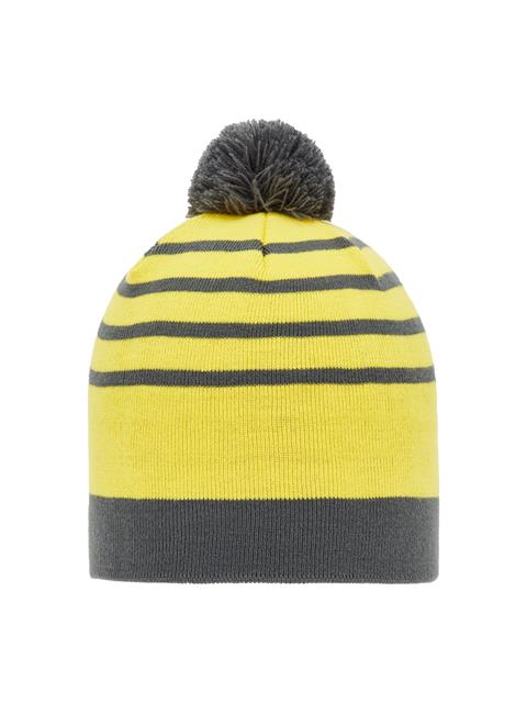 Mens Ball Striped Beanie Asphalt Black