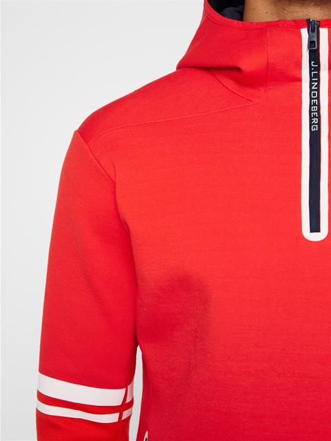 Mens Logo Tech Sweat Hoodie Racing Red