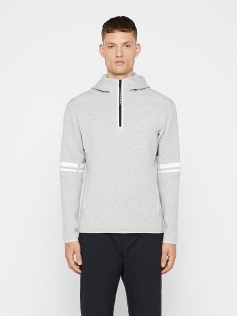 Mens Logo Tech Sweat Hoodie Stone Grey Melange