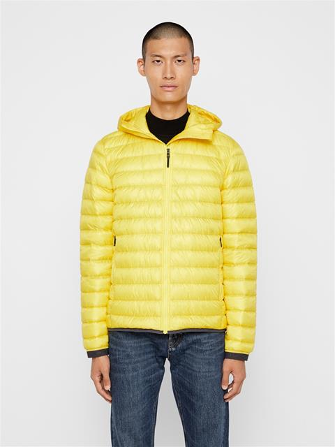 Mens Hooded Light Down Jacket Banging Yellow