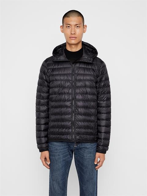 Mens Hooded Light Down Jacket Black