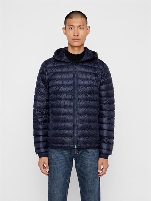 Mens Hooded Light Down Jacket JL Navy