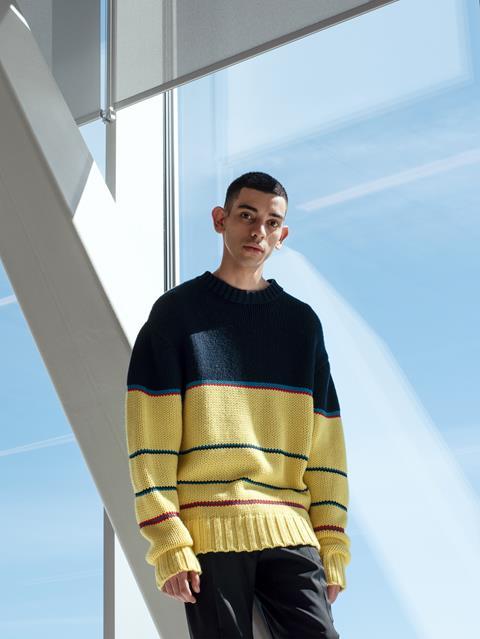 Mens Striped Chunky Wool Sweater JL Navy