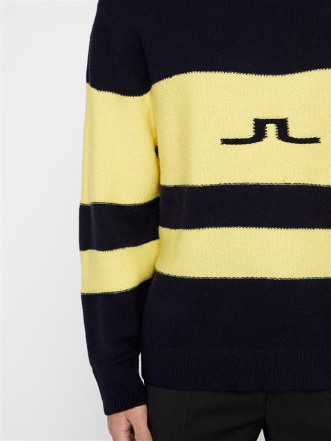 Mens Bold Stripe Wool Sweater JL Navy