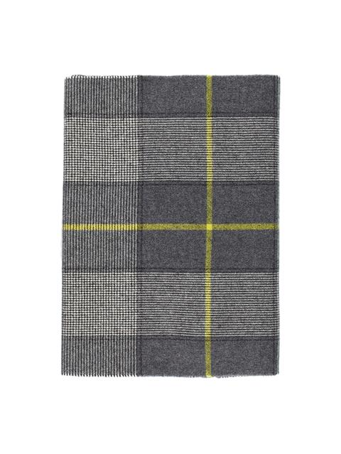 Mens Champ Check Wool Scarf Dark Grey