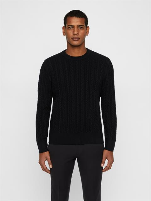 Mens Gregor Soft Cable Sweater Black