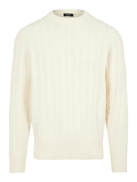 Mens Gregor Soft Cable Sweater Cable White