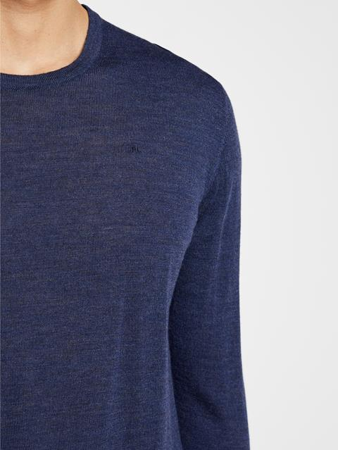 Mens Newman Merino Wool Sweater Mid Blue