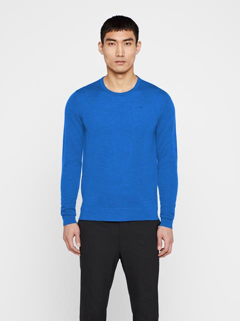 Mens Newman Merino Wool Sweater Pool Blue