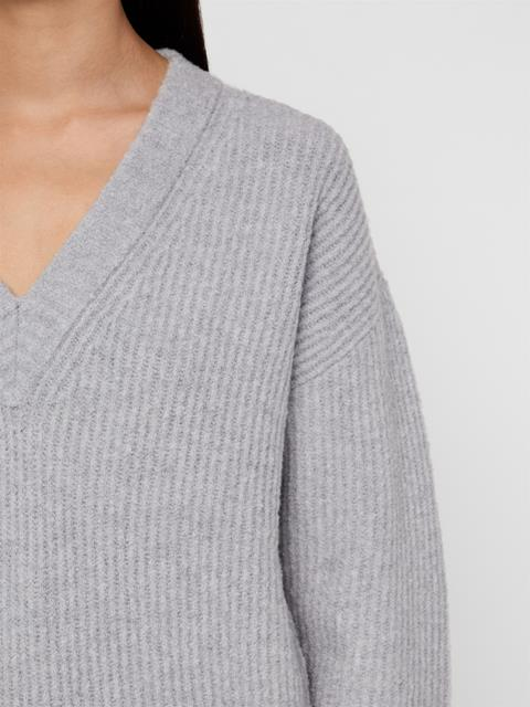Womens Millie Soft Wool Sweater Light Grey Melange