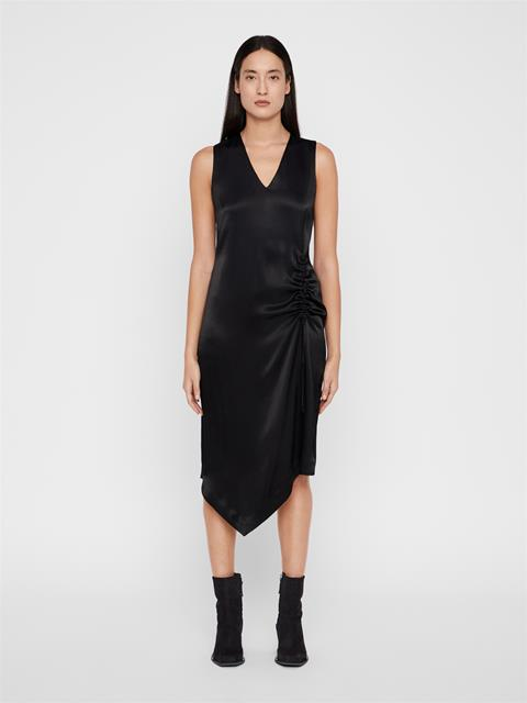 Womens Tara Satin Asymmetrical Dress Black