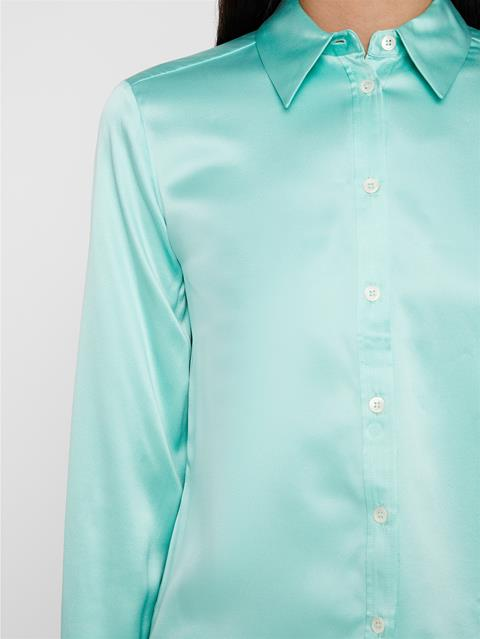 Womens Mallory Washed Silk Shirt Menthol